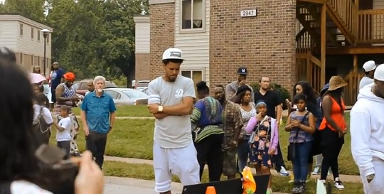 J.Cole-Visits-Mike-Brown-Memorial-In-Ferguson